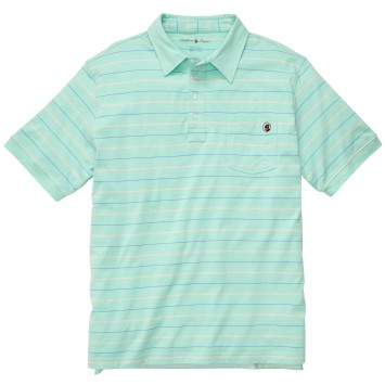 Pocket Polo: Duck Egg Green Stripe